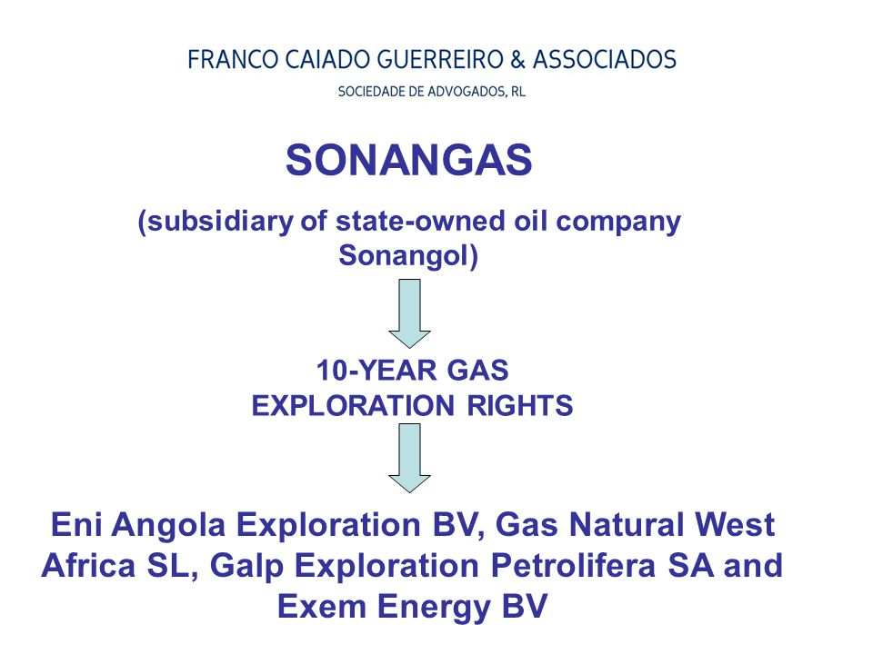 SONANGAS (subsidiary of state-owned oil company Sonangol) 10-YEAR GAS EXPLORATION RIGHTS.