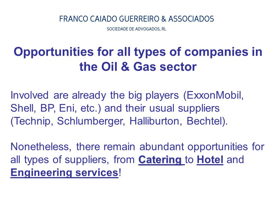 Opportunities for all types of companies in the Oil & Gas sector