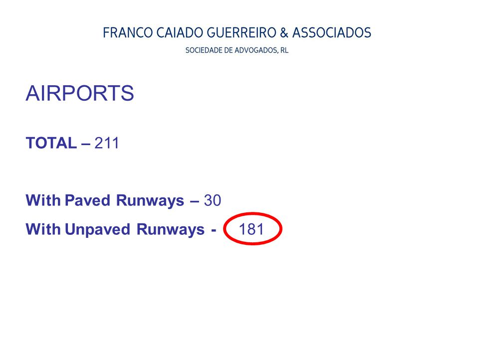 AIRPORTS TOTAL – 211 With Paved Runways – 30