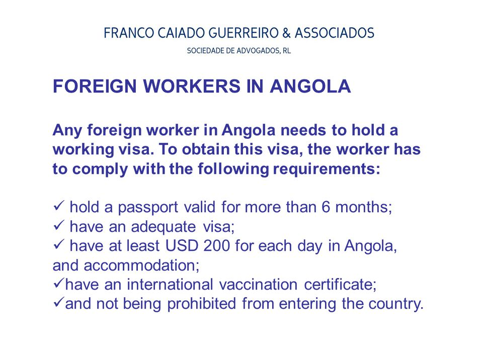 FOREIGN WORKERS IN ANGOLA