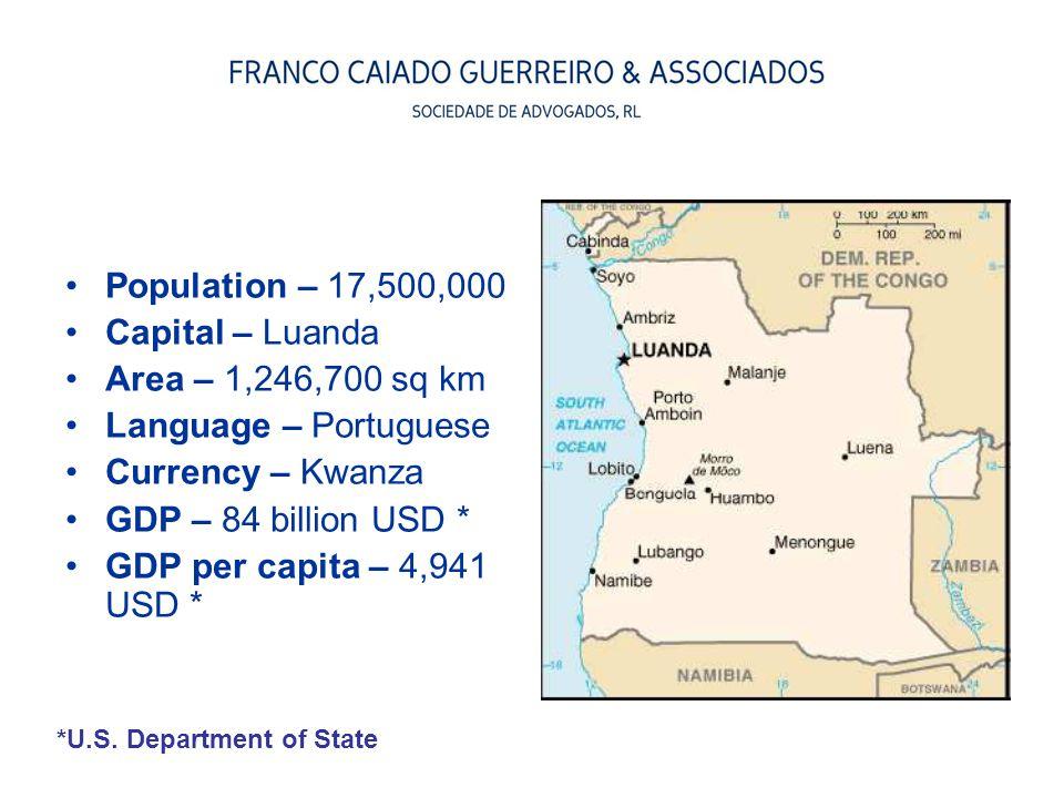 Population – 17,500,000 Capital – Luanda Area – 1,246,700 sq km
