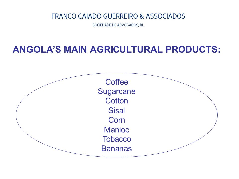 ANGOLA'S MAIN AGRICULTURAL PRODUCTS: