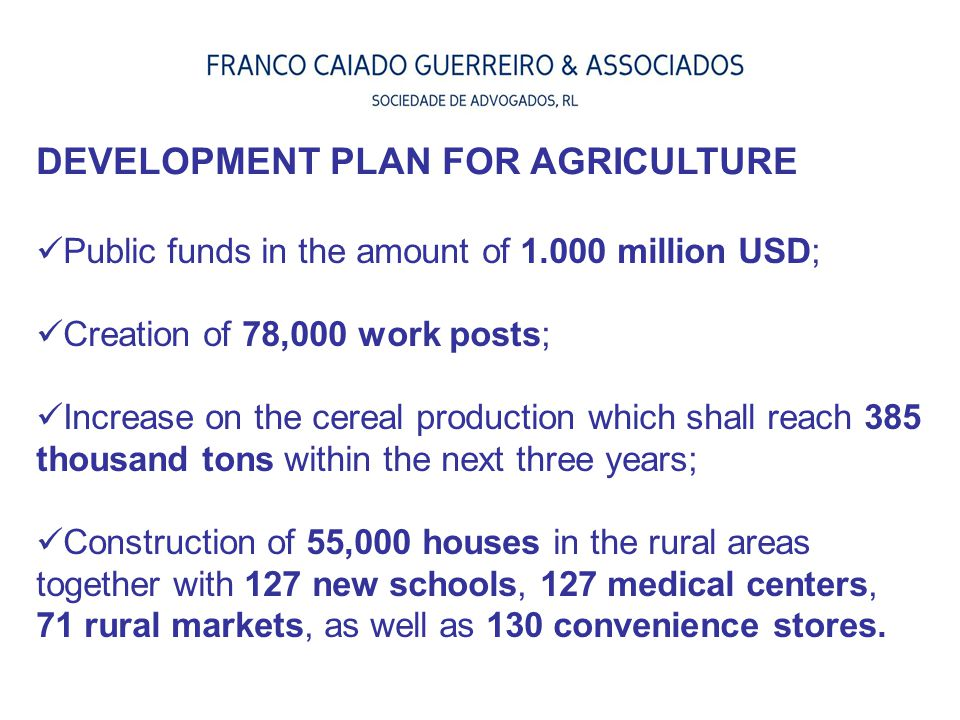 DEVELOPMENT PLAN FOR AGRICULTURE