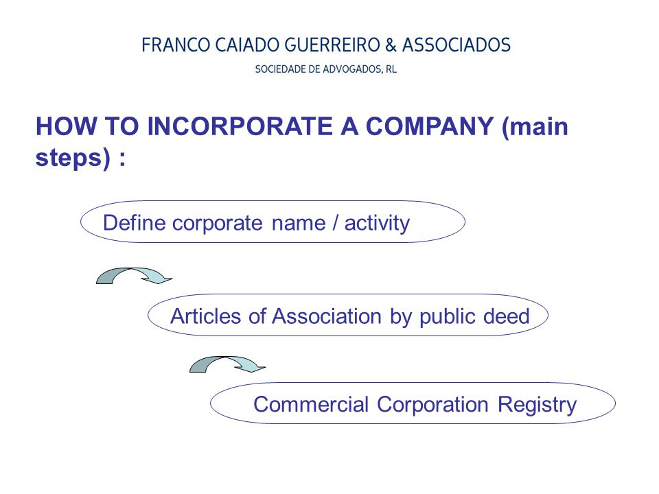 HOW TO INCORPORATE A COMPANY (main steps) :