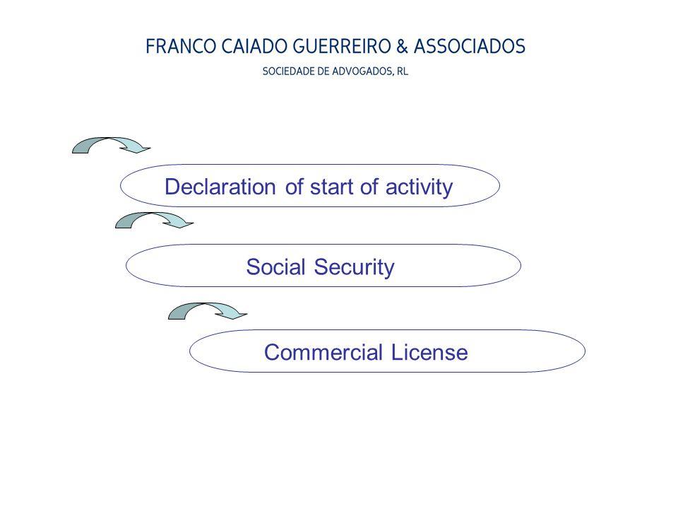 Declaration of start of activity