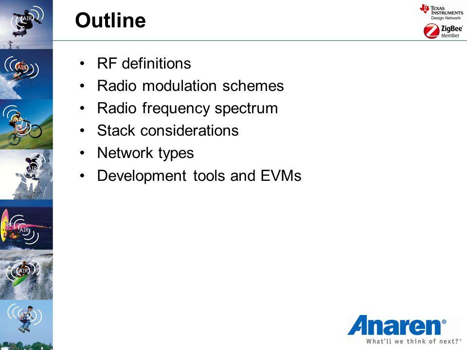 Outline RF definitions Radio modulation schemes