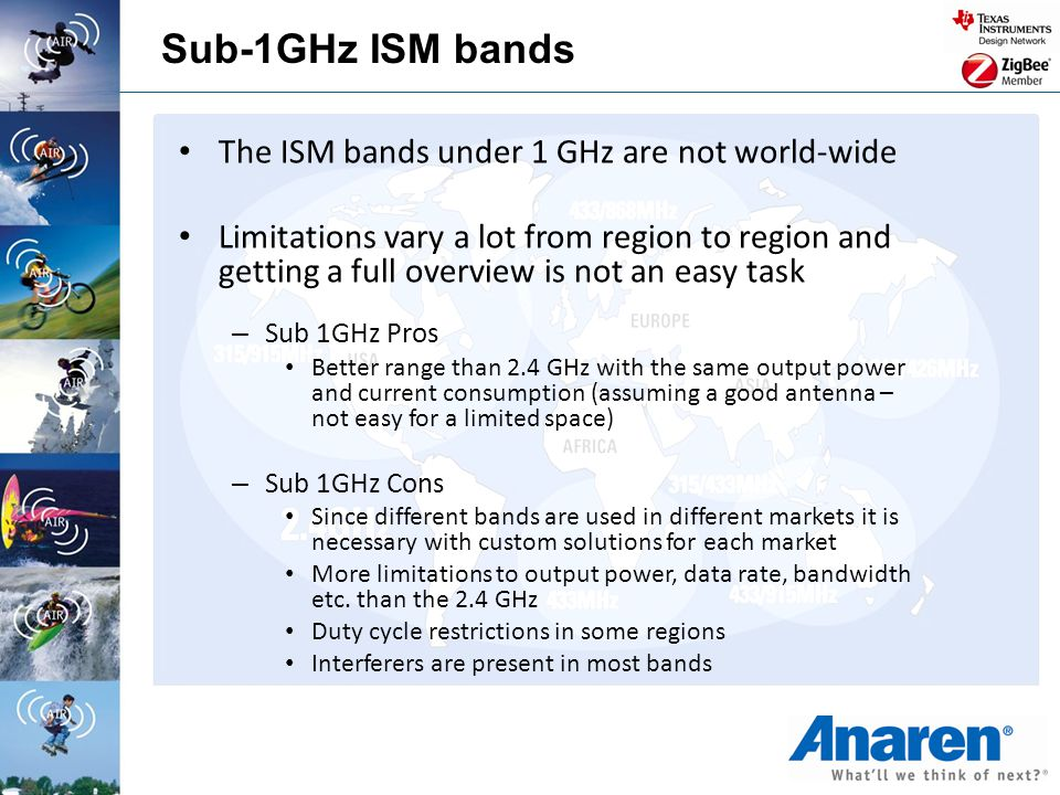 Sub-1GHz ISM bands The ISM bands under 1 GHz are not world-wide