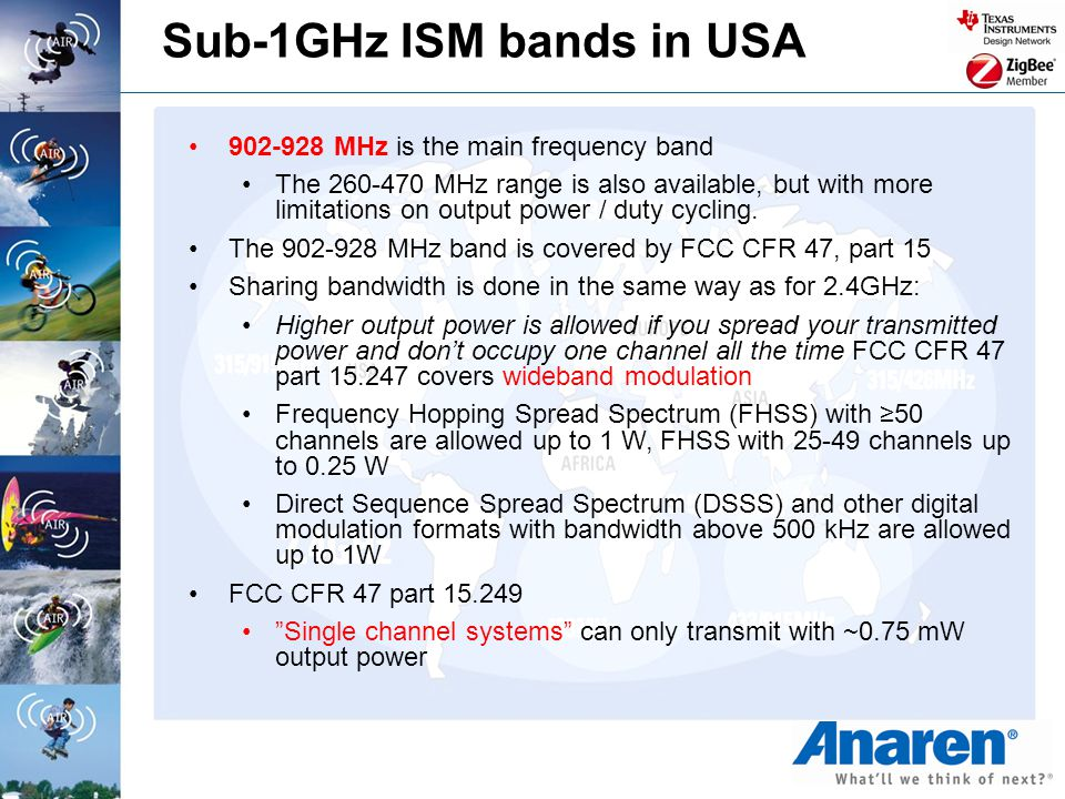 Sub-1GHz ISM bands in USA