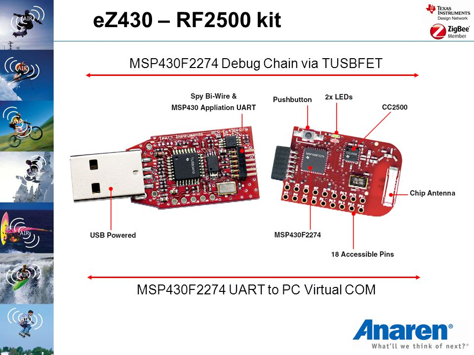 eZ430 – RF2500 kit MSP430F2274 Debug Chain via TUSBFET