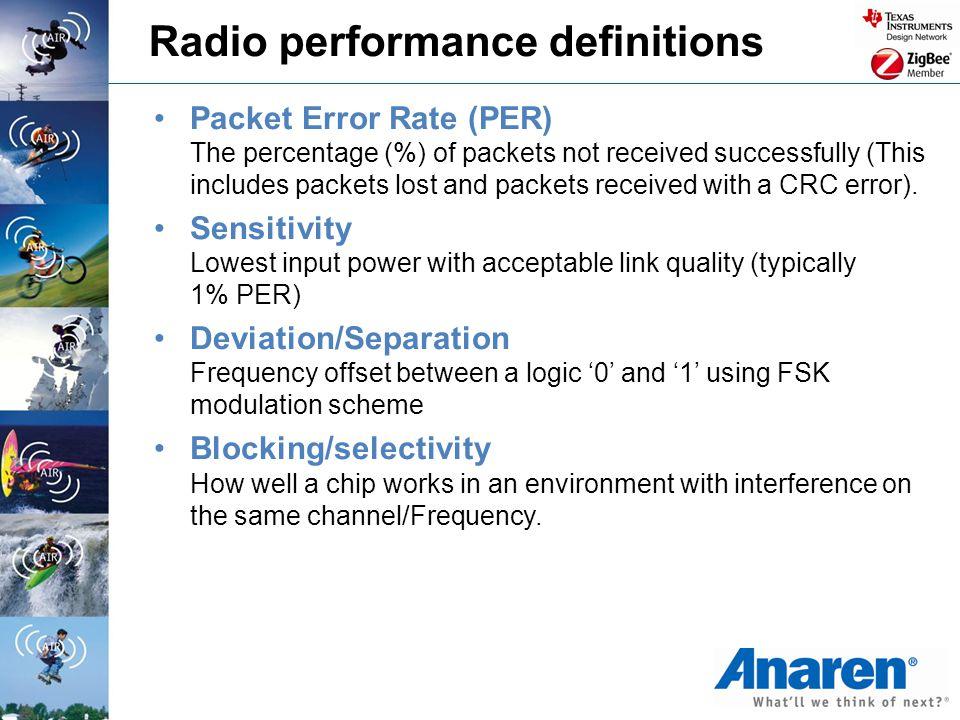 Radio performance definitions