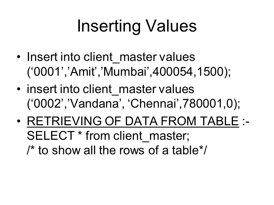 Inserting Values Insert into client_master values ('0001','Amit','Mumbai',400054,1500);