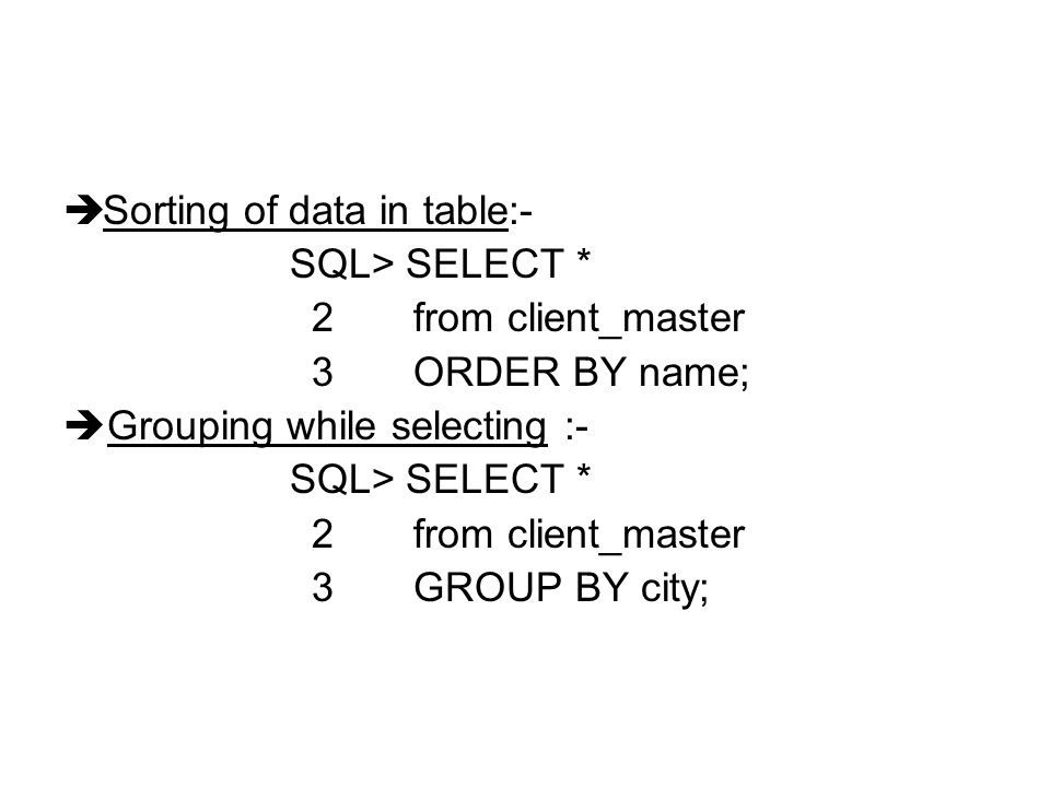 Sorting of data in table:-