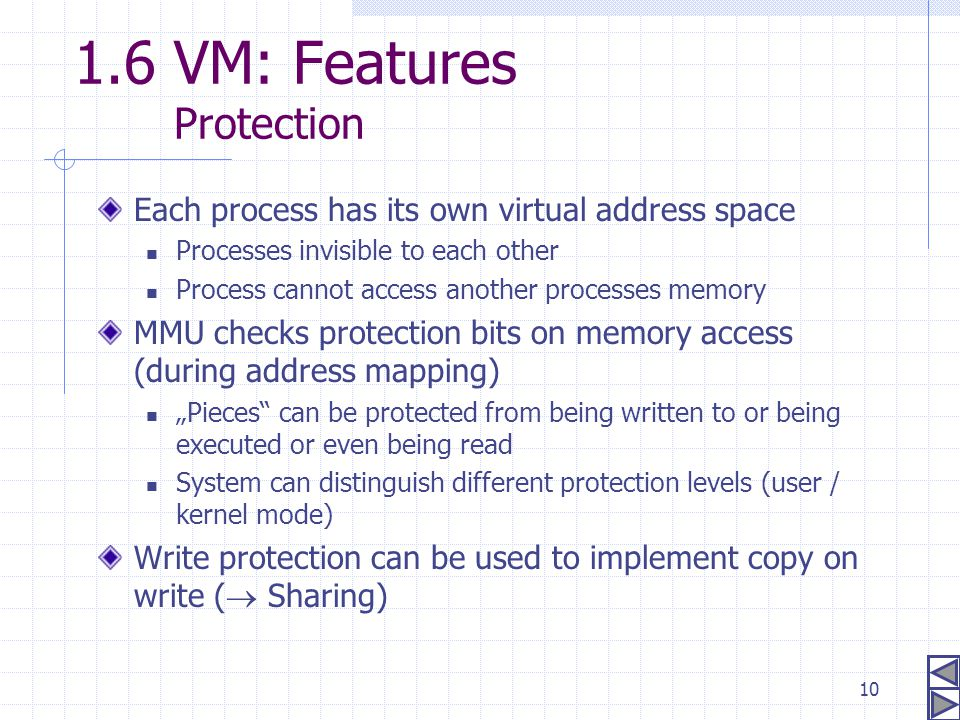 1.6 VM: Features Protection