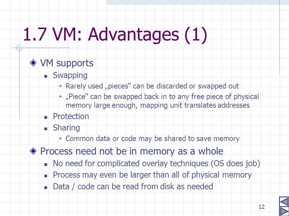 1.7 VM: Advantages (1) VM supports