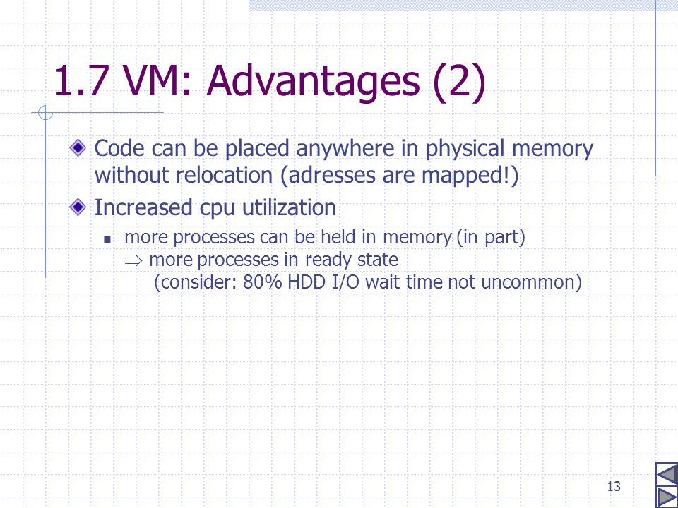 1.7 VM: Advantages (2) Code can be placed anywhere in physical memory without relocation (adresses are mapped!)