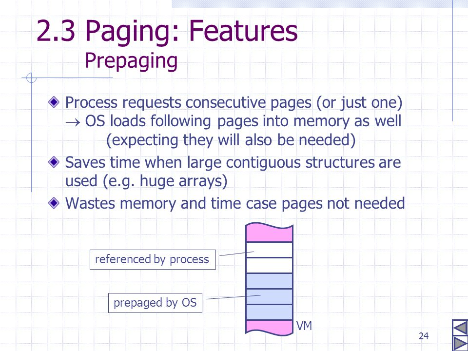 2.3 Paging: Features Prepaging