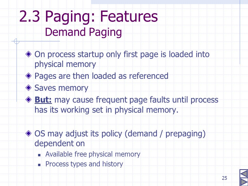 2.3 Paging: Features Demand Paging