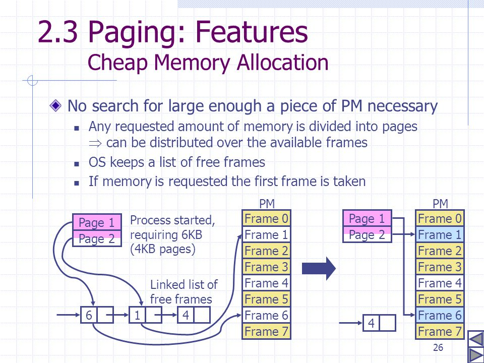 2.3 Paging: Features Cheap Memory Allocation