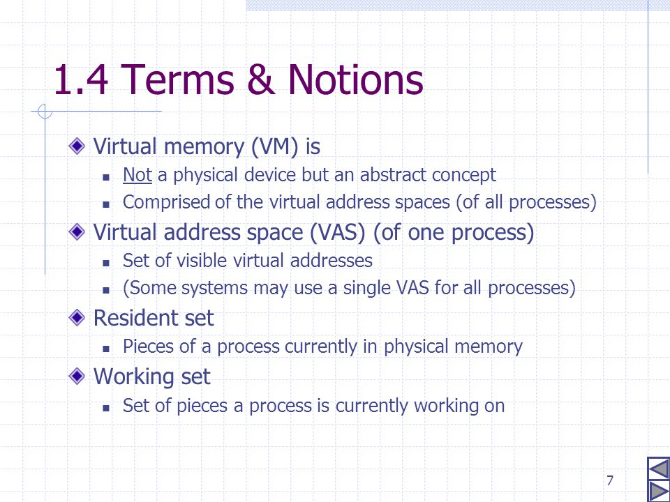 1.4 Terms & Notions Virtual memory (VM) is