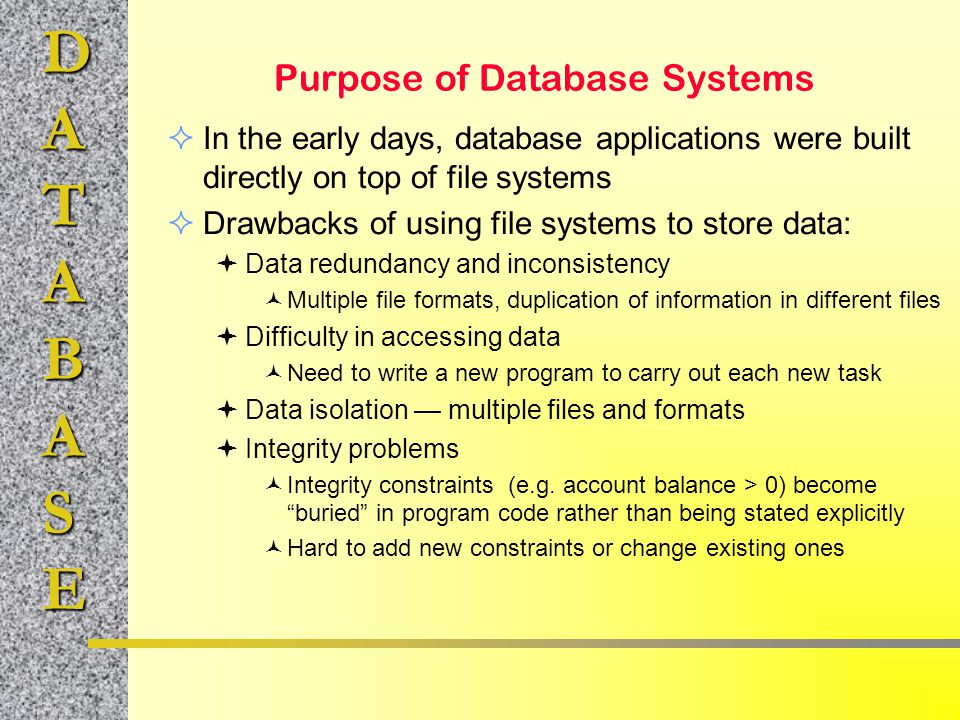 Purpose of Database Systems