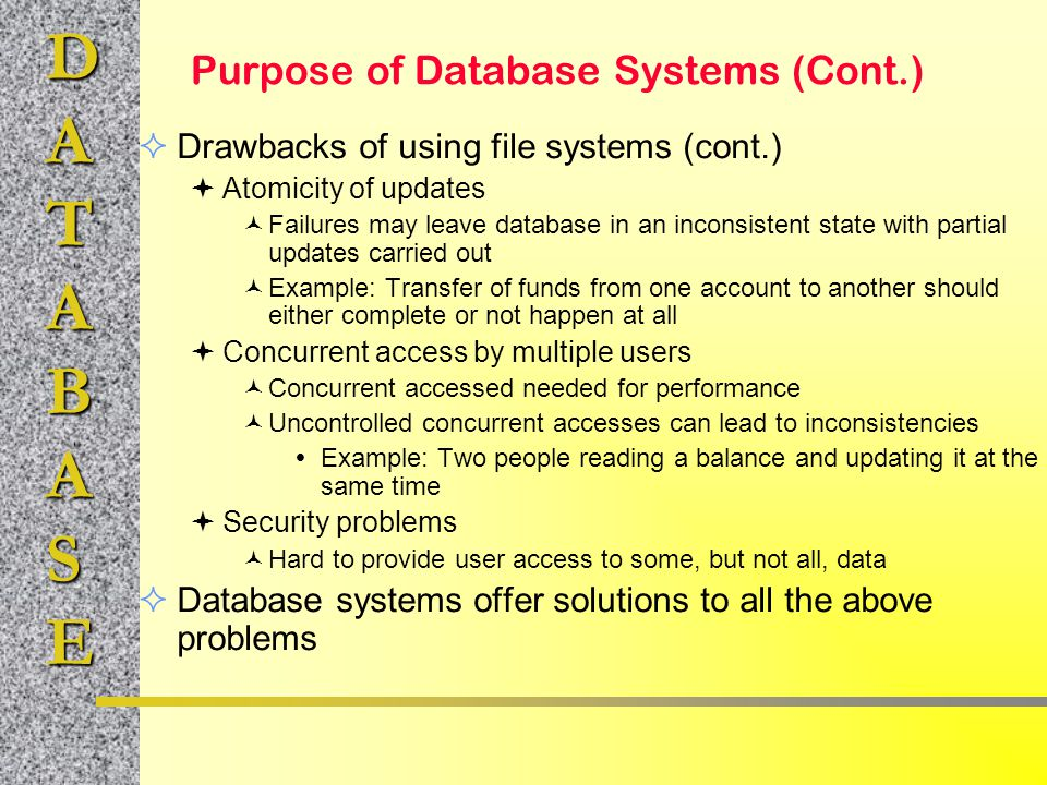 Purpose of Database Systems (Cont.)