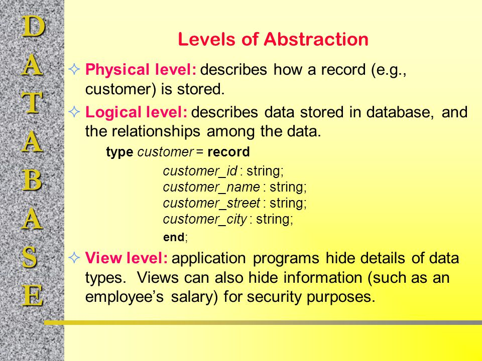Levels of Abstraction Physical level: describes how a record (e.g., customer) is stored.