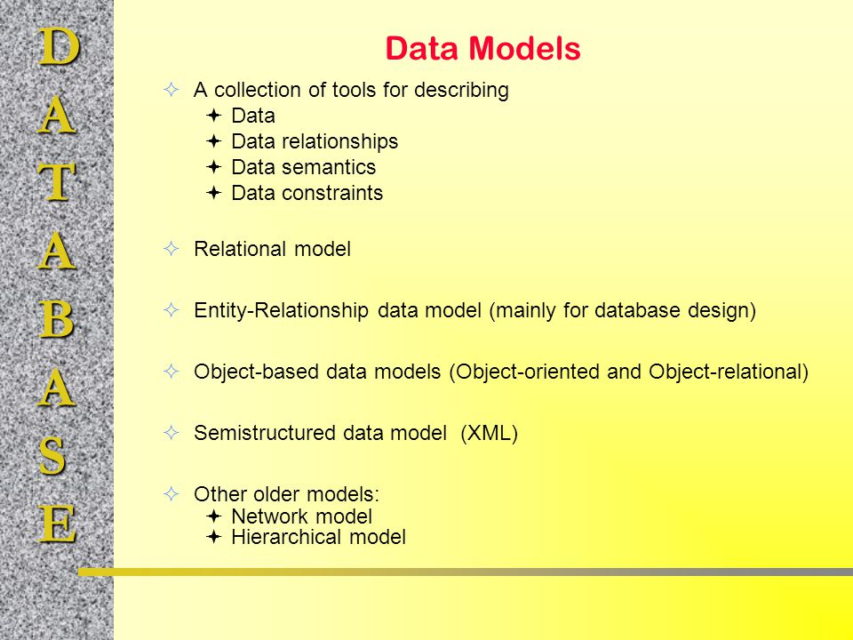 Data Models A collection of tools for describing Data