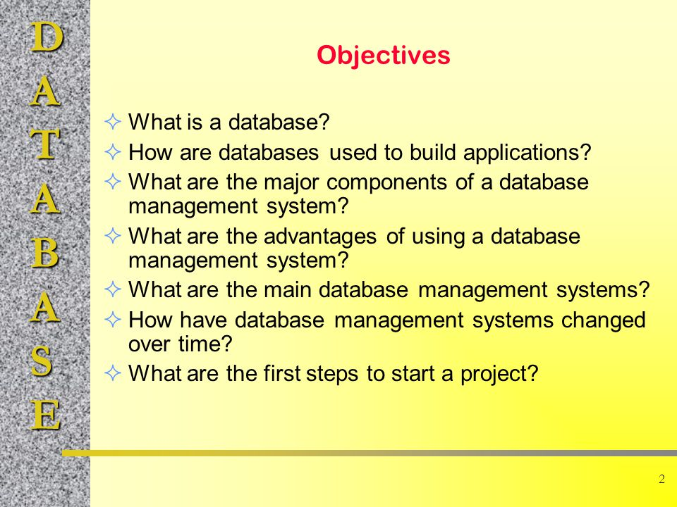 Objectives What is a database