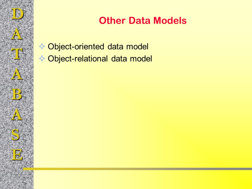 Other Data Models Object-oriented data model