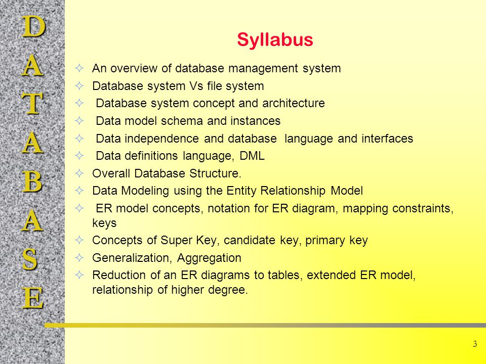 Syllabus An overview of database management system