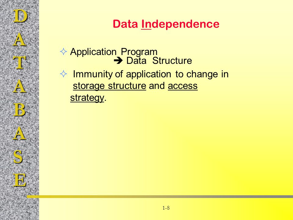 Data Independence Application Program  Data Structure