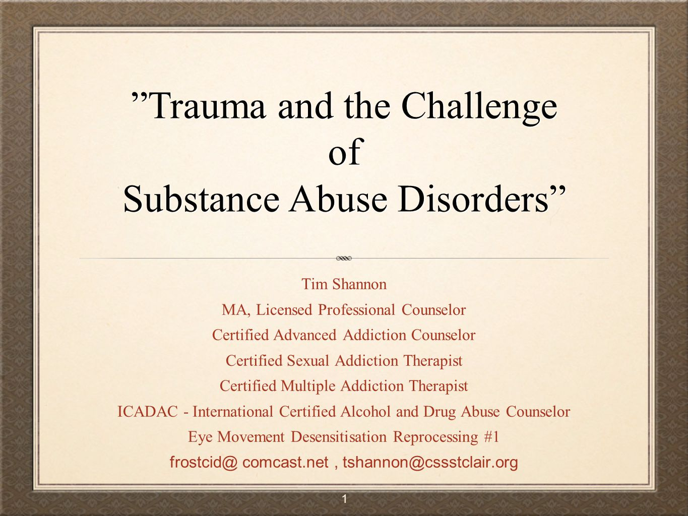 Trauma And The Challenge Of Substance Abuse Disorders Ppt Video