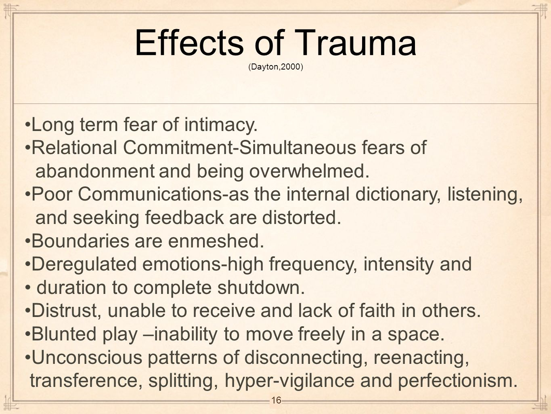 Effects of Trauma (Dayton,2000)
