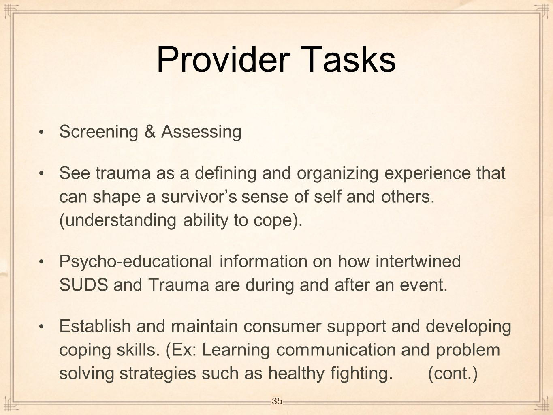 Provider Tasks Screening & Assessing