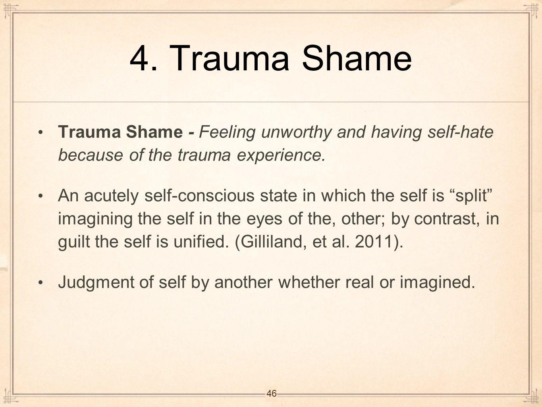 4. Trauma Shame Trauma Shame - Feeling unworthy and having self-hate because of the trauma experience.