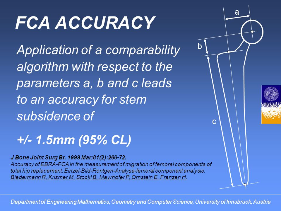 a FCA ACCURACY. Application of a comparability algorithm with respect to the parameters a, b and c leads to an accuracy for stem subsidence of.