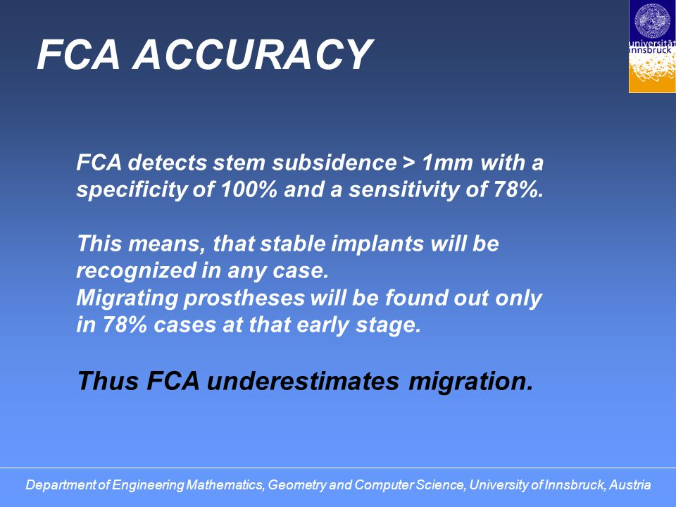 FCA ACCURACY Thus FCA underestimates migration.