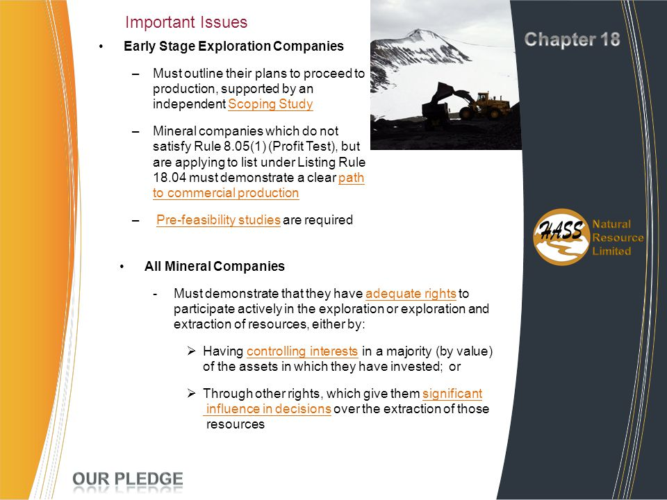 Chapter 18 Important Issues Project Experience Our Pledge
