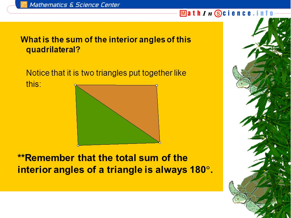 What is the sum of the interior angles of this quadrilateral