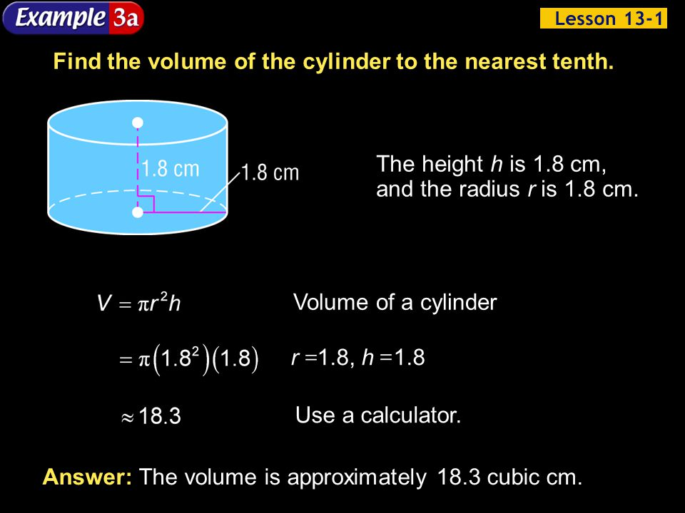 Find the volume of the cylinder to the nearest tenth.