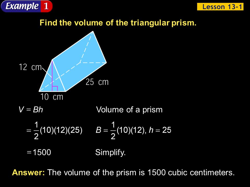 Find the volume of the triangular prism.