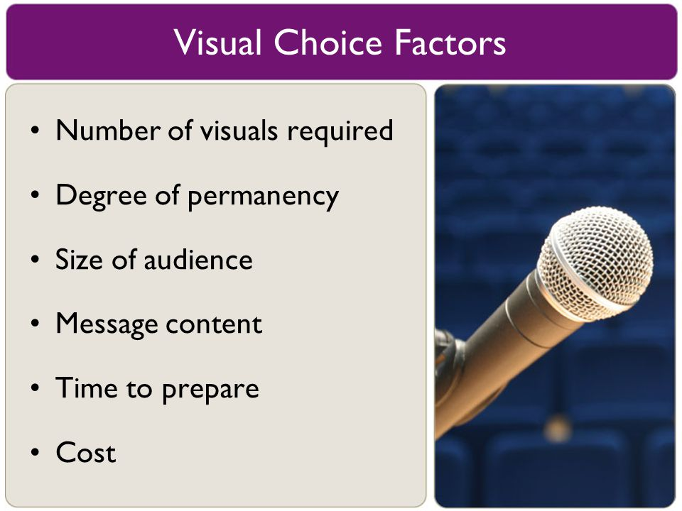Visual Choice Factors Number of visuals required Degree of permanency