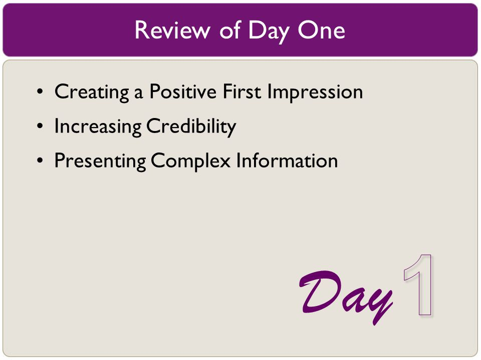 1 Day Review of Day One Creating a Positive First Impression