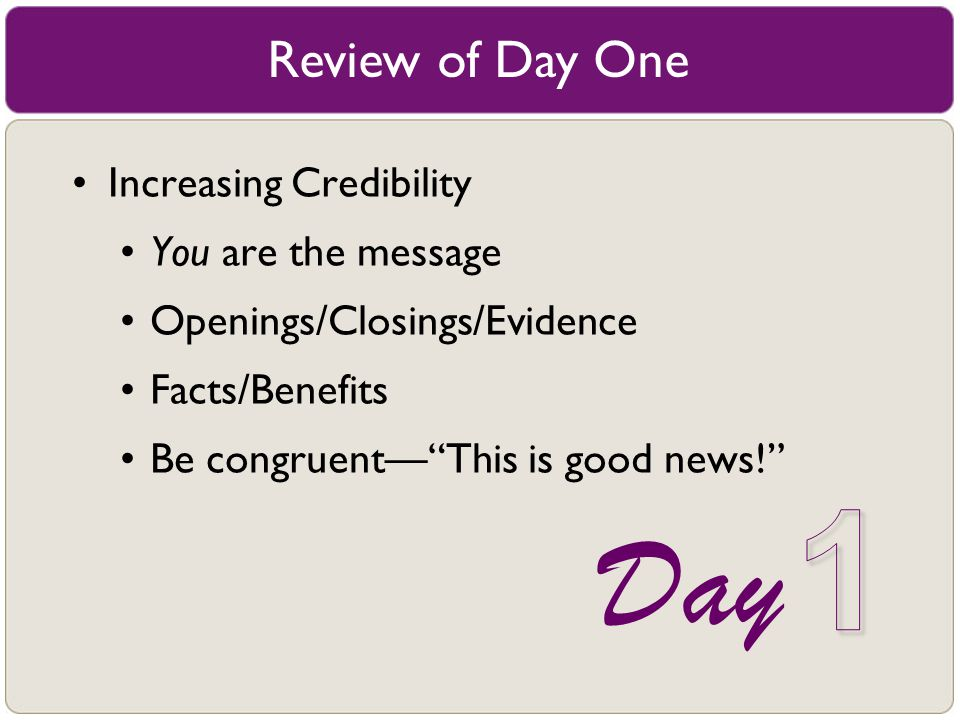 1 Day Review of Day One Increasing Credibility You are the message