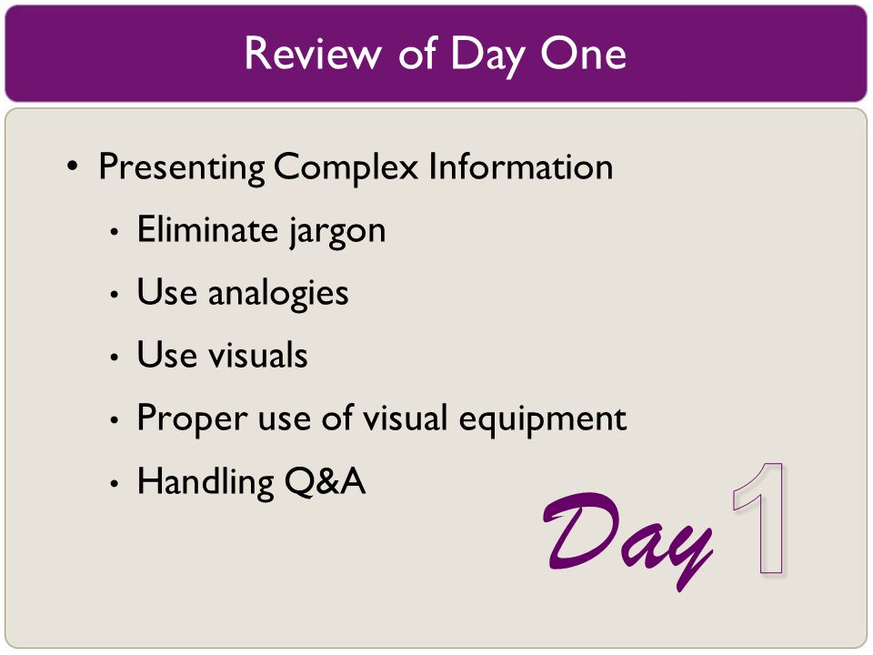 1 Day Review of Day One Presenting Complex Information