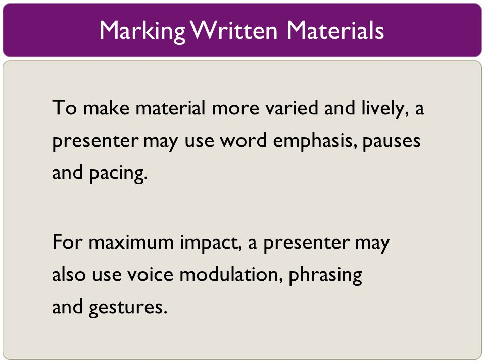 Marking Written Materials