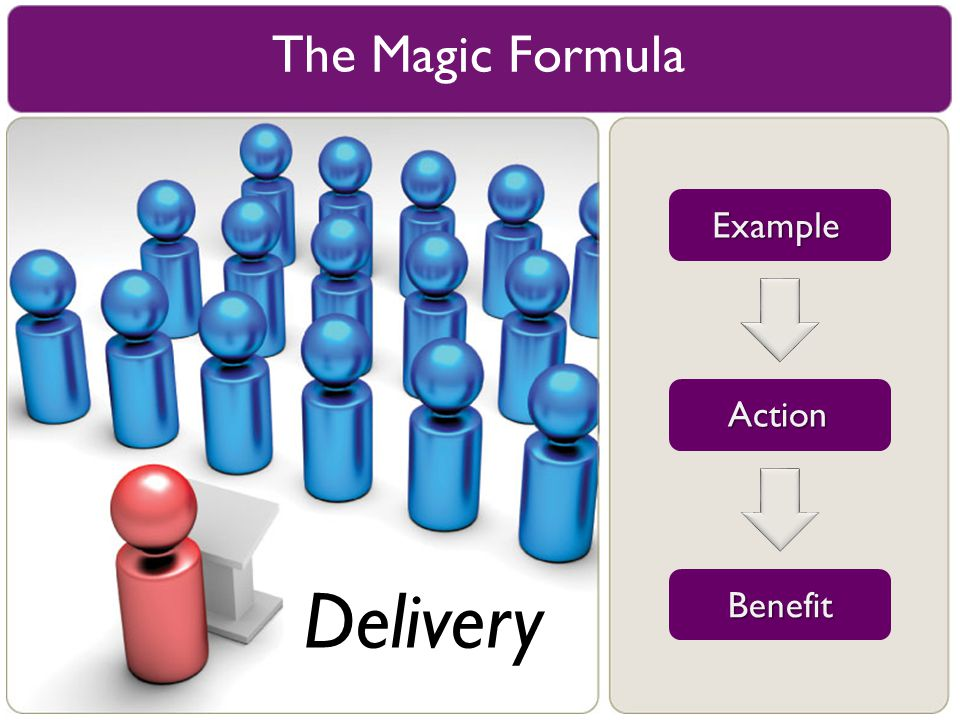 The Magic Formula Example Action Delivery Benefit