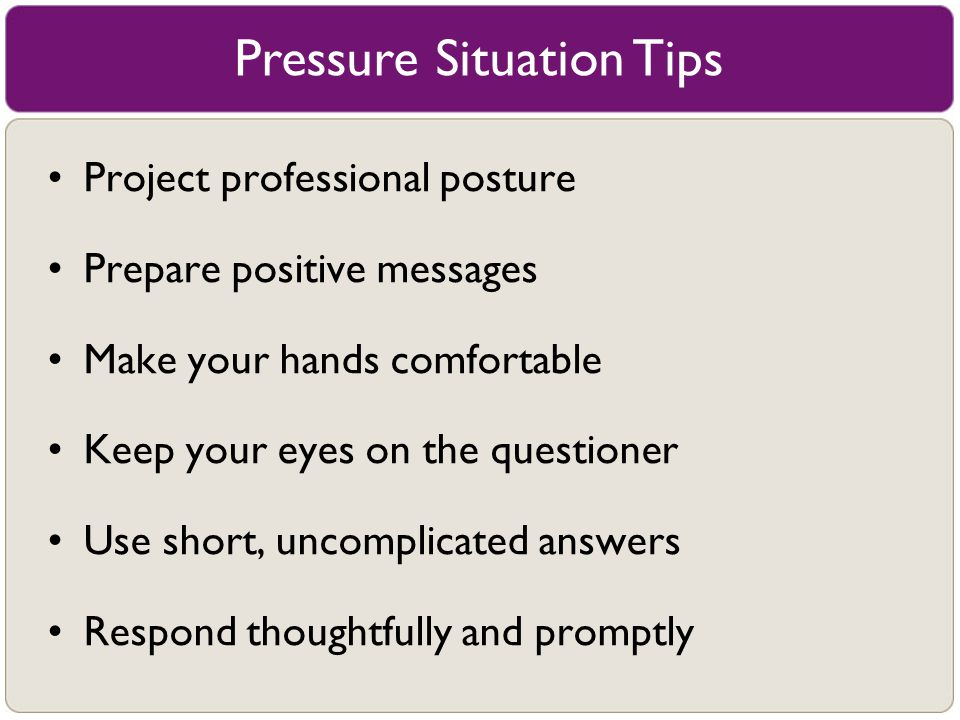 Pressure Situation Tips
