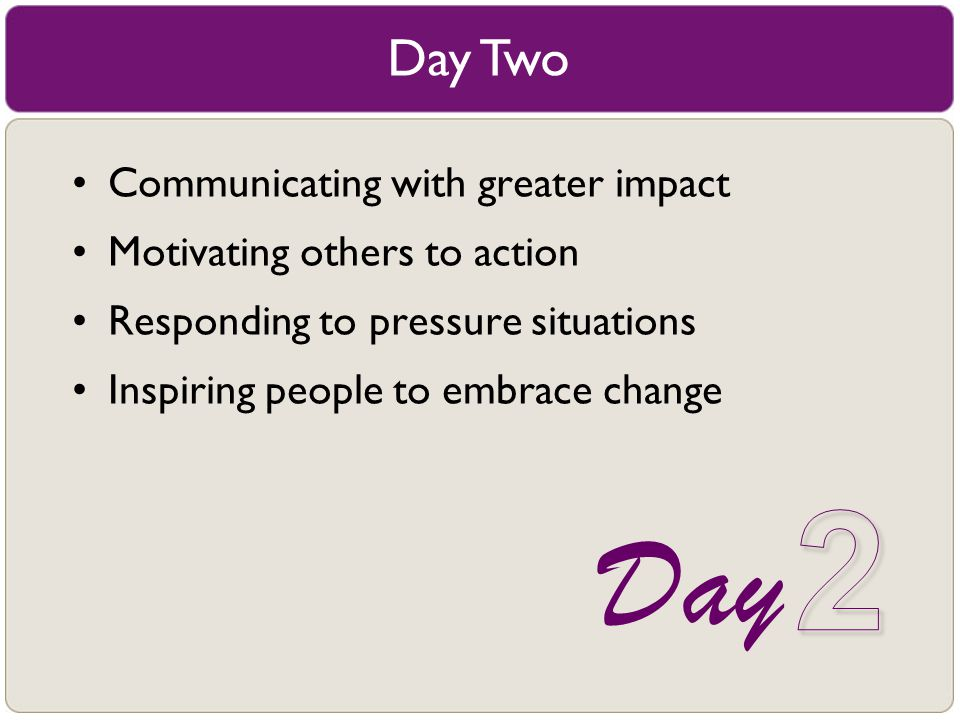 2 Day Day Two Communicating with greater impact