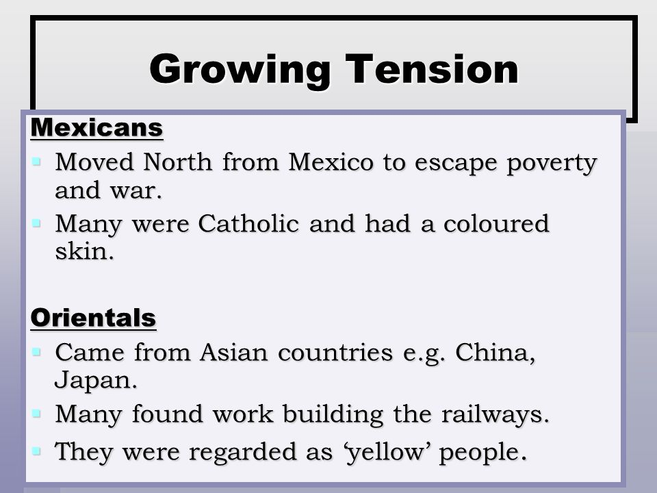 Growing Tension Mexicans